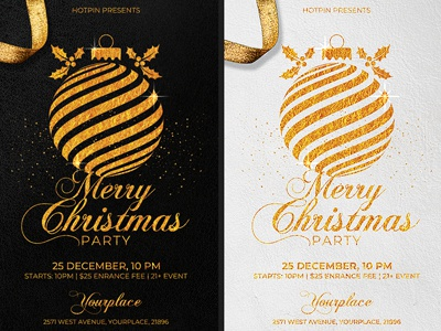 Christmas Invitation Party Flyer Template By Hotpin Dribbble