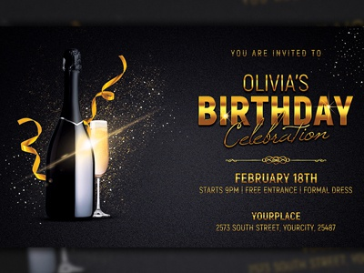 Birthday Party Flyer Invitation Template Anniversary Poster Gold Black Card Classy Elegant