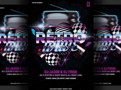 Retro Party Flyer Template By Hotpin Dribbble Dribbble