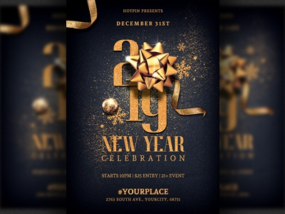 new year eve invitation flyer template by hotpin dribbble dribbble