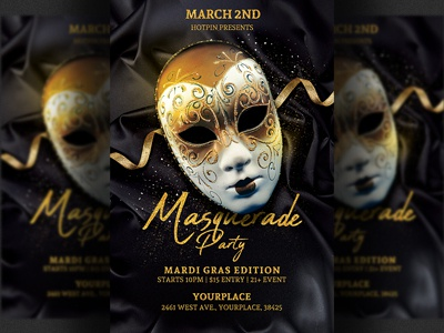 Masquerade Party Flyer Mardi Gras Template Invitation Promotion Design Costume Print