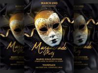 Masquerade Party Flyer Mardi Gras Template