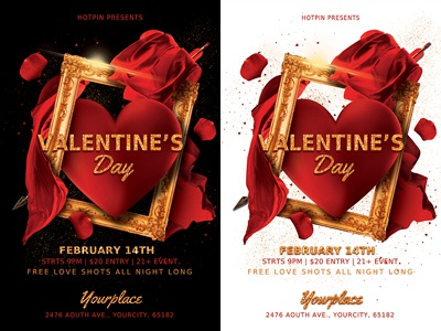 Valentines Day Party Flyer Template valentines day card valentines day bash valentines day template st valentines saint valentines red psd template poster party flyer modern invitation heart gold flyer template flyer design elegant design club flyer classy