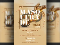 Masquerade Mardi Gras Carnival Party Flyer Template