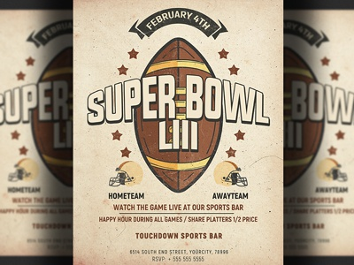 American Football Super Bowl Flyer Template template superbowl flyer super bowl psd template psd poster playoff nfl flyer nfl monday league kickoff game day football playoff football flyer football fantasy football design college football american football