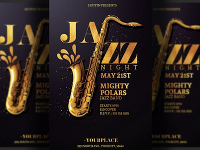 Jazz Flyer Template by Hotpin on Dribbble