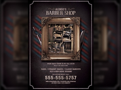 barbershop flyer template by hotpin on
