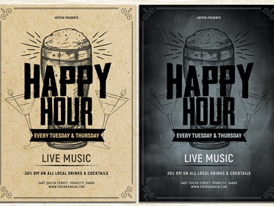 Happy Hour Flyer Template promotion poster party organic beer oktoberfest octoberfest modern leaflet happy hour flyer template flyer design drinks drink design brewery beer promotion beer bar advertising