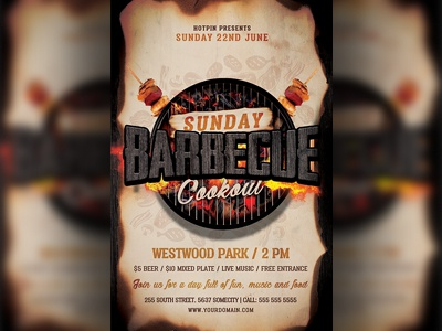 Barbecue Bbq Flyer Template pub pool party picnic party independence day bbq independence day grill restaurant grill food event cookout beach party bbq restaurant bbq flyer bbq cookout bbq barbecue flyer barbecue 4th of july