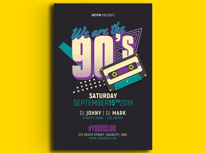 90s Party Flyer Template flyer design design promotion advertising hotpin 90s retro club 90s event invitation event poster psd template print retro party flyer retro flyer club flyer flyer template party flyer 90s flyer
