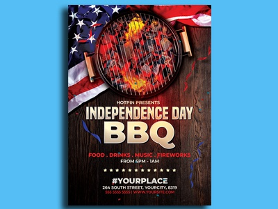 4th  Of July Independence Day Bbq Flyer Template