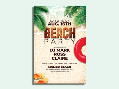 Summer Beach Party Flyer Template summer event flyer bundle print tropical summer invitation advertising promotion club flyer party flyer summer flyer design beach party pool party pool party flyer beach party flyer psd template template event summer poster summer flyer