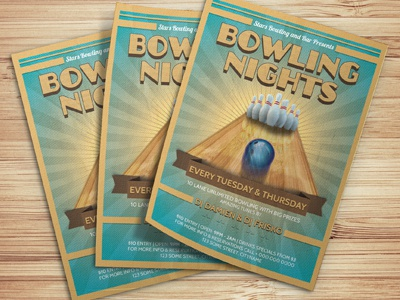 Bowling Nights Party Flyer Template By Christos Andronicou - Dribbble