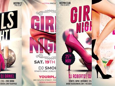 Girls Ladies Night Party Flyer Bundle