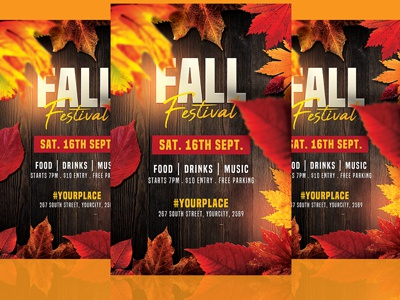 Autumn Fall Flyer Template winter thanksgiving template party flyer party octoberfest modern leafs leaf harvest halloween fall party fall event celebration autumn party autumn flyer autumn background autumn