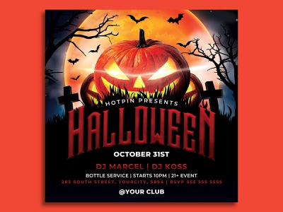 Halloween Flyer Template pumpkin post party flyer party nightclub night horror haunted house halloween poster halloween party halloween flyer halloween grave full moon flyer template flyer event dark costume club flyer