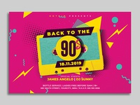 Retro 90s Party Flyer Template