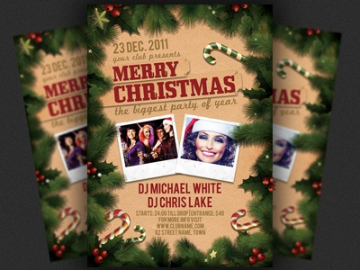 Christmas or nye party flyer template