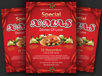 Christmas Dinner Event Flyer Template By Christos Andronicou  Dribbble