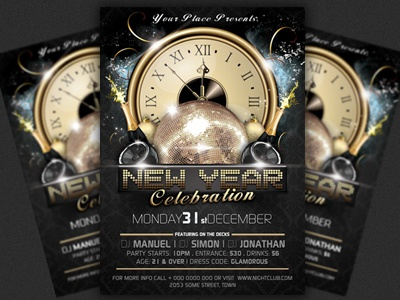 new years eve party flyer template celebration champagne christmas club flyer dance dj event flyer glamour