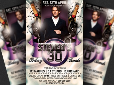 birthday bash party flyer template by christos andronicou dribbble