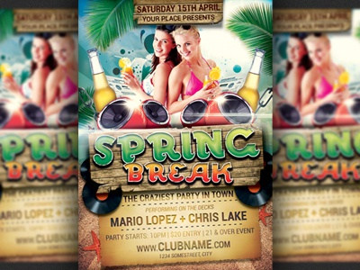 Spring Break Party Flyer Template By Christos Andronicou  Dribbble