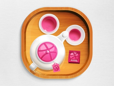 Teapot tea pot dribbble icon app pink clean illustrator wooden chinese china