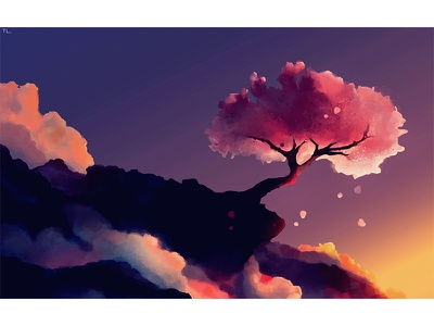 Fuji Volcano illustration digital art environment art landscape