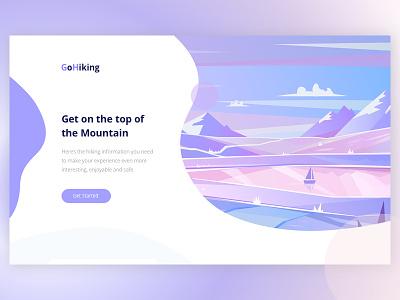 Go Hiking! app hiking page landing gradient ux ui mountains illustration