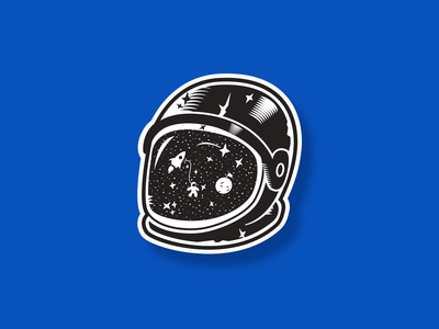 Space Age (Holographic Sticker) texture vector simple illustration spaceman spaceship stickermule holographic holograph white black sticker fun helmet space