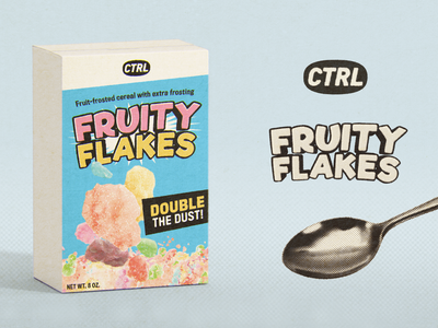 Vintage Fruity Flakes supplement branding identity logo texture halftone packaging cereal box cereal distressed aged retro vintage