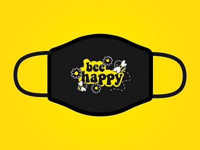 Bee Happy hippy typography illustration positivity cartoon cute face virus corona virus coronavirus covid mask flowers yellow spring summer fun smile happy bee