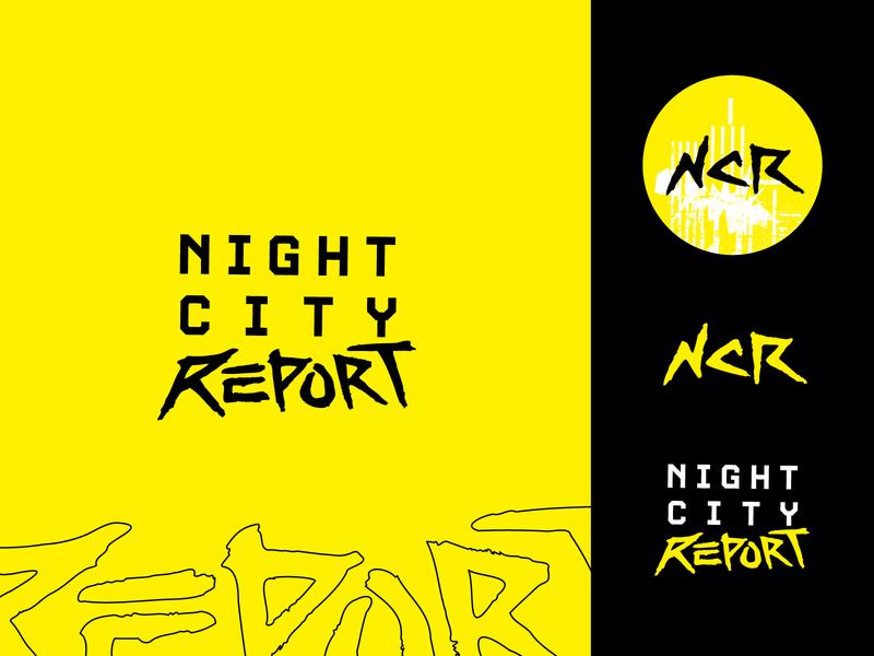 Night City Report Cyberpunk Logo symbol logomark branding techno yellow marker hand lettering handlettering grunge mark identity logo cyberpunk 2077 cyberpunk night city