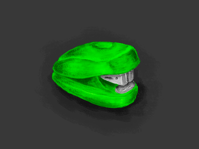 Stapler 2 highlight shadow texture supplies office green paint painting drawing illustration desk stapler
