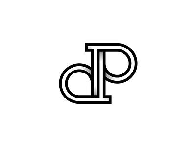 DP Monogram Logo gradient depth lines geometry simple black and white identity logo monogram p d dp