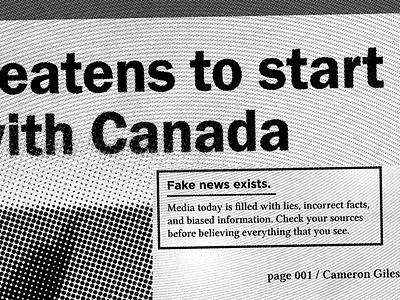 """Fake News"" Details fake news poster money black and white halftone bitmap trump media newspaper news"