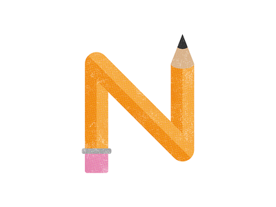 36 Days of Type - N texture halftone pencil simple illustration typography letter n 36 days of type
