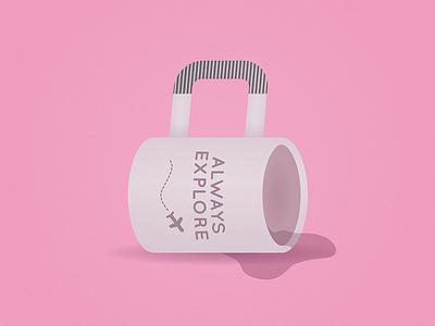 Mug Suitcase imagination spill tea coffee cup fun cute simplistic simple illustration suitcase mug