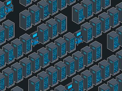 Server Room asus blue pattern technology computer server illustration isometric