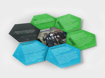 Conceptual Tespa Brochure Design fun fold hexagon tespa college university club esports gaming booklet brochure