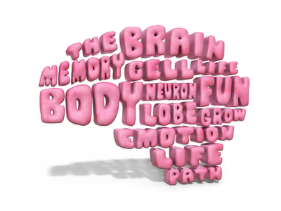 The Brain 🧠💭 texture 3d map words illustration type typography brain