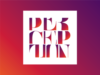 Perception gradient design concept type composition poster crop glyph character letters typography perception