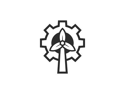 Environmental Engineering design branding symbol shirt identity mark simple wind turbine wind gear logo engineering