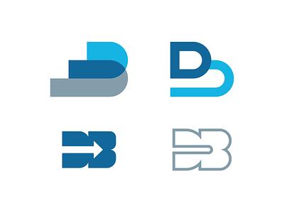 db logo exploration concept simple logotype logomark branding identity blue shapes monogram mark letter geometry geometric logo b d db