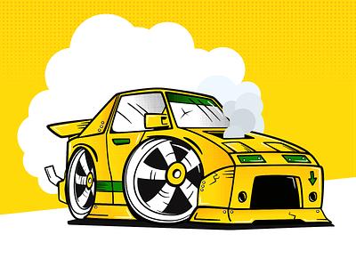 Lemon 🍋💨 caricature cartoon yellow treatment texture gradient halftones smoke lemon fun doodle drawing illustration race halftone car