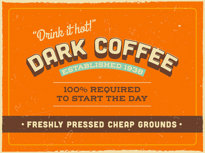 vintage coffee ☕️ old fun typography type distressed vector texture packaging label coffee retro vintage