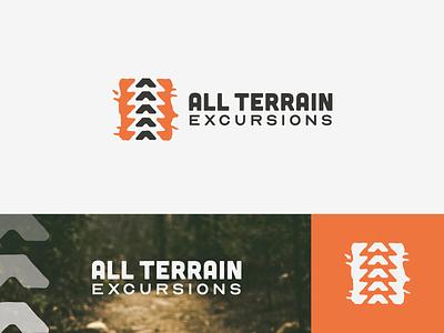 All Terrain Excursions Identity splash mud grunge symbol wordmark logomark guide tour nature outdoors fun geometric simple mark logo identity branding
