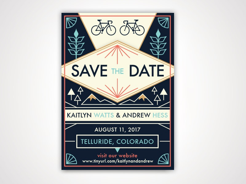 Save The Date mountains bikes wedding geometric invitation save the date