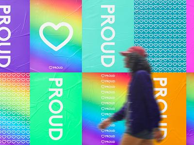 Proud by Looka lgbtq print design advertising billboard poster design poster mockup design mockup lookadesign logos ai logo design logo branding design branding and identity branding brand identity