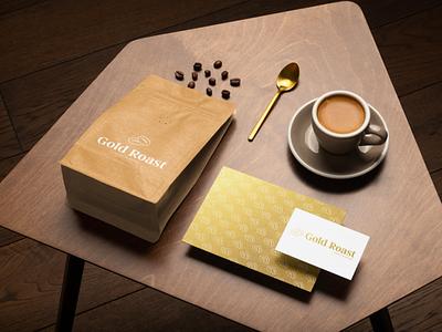 Gold Roast Coffee Mockup - Looka coffee packaging packaging packaging design gold gradient coffee coffee bag logos ai logo design logo branding design branding and identity branding brand identity mockupdesign mockup